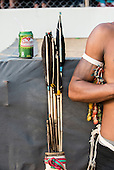An archer leans his arrow quiver against a box with a Brazilian can of Guarana soft drink at the International Indigenous Games, in the city of Palmas, Tocantins State, Brazil. Photo © Sue Cunningham, pictures@scphotographic.com 31st October 2015