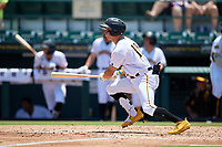 Bradenton Marauders Travis Swaggerty (12) hits a single during a Florida State League game against the Tampa Tarpons on May 26, 2019 at LECOM Park in Bradenton, Florida.  Bradenton defeated Tampa 3-1.  (Mike Janes/Four Seam Images)