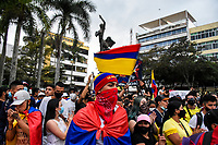 ARMENIA - COLOMBIA, 06-05-2021: Cientos de personas se congregaron el centro de la ciudad de Armenia hoy, 06 mayo de 2021, durante el noveno día de protestas del Paro Nacional convocado por la reforma tributaria y de la salud que adelanta el gobierno de Ivan Duque además de la precaria situación social y económica que vive Colombia. Durante la tarde hubo diferentes actividades como música, bailes y un homenaje a las personas que han fallecido. El paro fue convocado por sindicatos, organizaciones sociales, estudiantes y la oposición y sumando el día del trabajo lleva 5 días de marchas y protestas. / Hundreds of people gathered in the center of the city of Armenia today, May 06, 2021, during the ninth day of protests of the National Strike called for the tax and health reform carried out by the government of Ivan Duque in addition to the precarious social situation and economic that Colombia lives. During the afternoon there were different activities such as music, dances and a tribute to the people who have passed away. The strike was called by unions, social organizations, students and the opposition and adding up to Labor Day it has been 5 days of marches and protests. Photo: VizzorImage / Santiago Castro / Cont