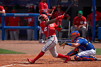 Washington Nationals Victor Robles (16) bats during a Major League Spring Training game against the New York Mets on March 18, 2021 at Clover Park in St. Lucie, Florida.  (Mike Janes/Four Seam Images)