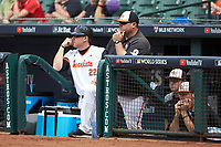 Sam Houston State Bearkats assistant coaches Lance Harvell (left) and Shane Wedd (right) watch from the dugout during the game against the Vanderbilt Commodores in game one of the 2018 Shriners Hospitals for Children College Classic at Minute Maid Park on March 2, 2018 in Houston, Texas. The Bearkats walked-off the Commodores 7-6 in 10 innings.   (Brian Westerholt/Four Seam Images)