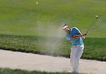 1 September 2008: Jeff Overton hits a sand shot at the Deutsche Bank Golf Championship in Norton, Massachusetts.