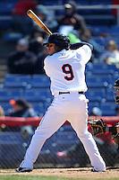 Binghamton Mets shortstop Sean Kazmar #9 during a game against the Akron Aeros at NYSEG Stadium on April 7, 2012 in Binghamton, New York.  Binghamton defeated Akron 2-1.  (Mike Janes/Four Seam Images)