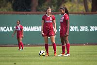 STANFORD, CA - September 3, 2017: Jordan DiBiasi,Catarina Macario at Cagan Stadium. Stanford defeated Navy 7-0.