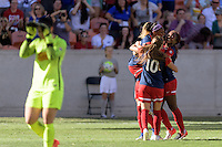 Houston, TX - Sunday Oct. 09, 2016: Crystal Dunn celebrates scoring, Ali Krieger, Estefania Banini, Francisca Ordega during the National Women's Soccer League (NWSL) Championship match between the Washington Spirit and the Western New York Flash at BBVA Compass Stadium. The Western New York Flash win 3-2 on penalty kicks after playing to a 2-2 tie.