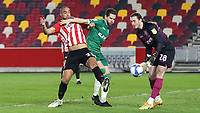Winston Reid of Brentford tries to reach the loose ball in the Sheffield Wednesday penalty area during Brentford vs Sheffield Wednesday, Sky Bet EFL Championship Football at the Brentford Community Stadium on 24th February 2021