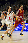 Real Madrid´s Sergio Llull and Galatasaray´s Micov during 2014-15 Euroleague Basketball match between Real Madrid and Galatasaray at Palacio de los Deportes stadium in Madrid, Spain. January 08, 2015. (ALTERPHOTOS/Luis Fernandez)