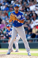 Kansas City Royals pitcher Joakim Soria #48 during a game against the Chicago White Sox at U.S. Cellular Field on August 14, 2011 in Chicago, Illinois.  Chicago defeated Kansas City 6-2.  (Mike Janes/Four Seam Images)