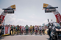 start line in Annecy with all the jersey leaders on the front row<br /> <br /> Stage 10: Annecy > Le Grand-Bornand (159km)<br /> <br /> 105th Tour de France 2018<br /> ©kramon