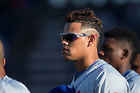 Darwin Ramos (34) of the Kingsport Mets during the National Anthem prior to the game against the Danville Braves at American Legion Post 325 Field on July 9, 2016 in Danville, Virginia.  The Mets defeated the Braves 10-8.  (Brian Westerholt/Four Seam Images)