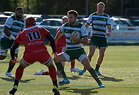 Tommy Bell of Ealing Trailfinders and Greg Dyer of Jersey Reds during the Greene King IPA Championship match between Ealing Trailfinders and Jersey at Castle Bar, West Ealing, England  on 19 October 2019. Photo by Alan Stanford / PRiME Media Images