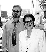 Montreal (qc) CANADA - file Photo - 1991 - <br /> <br /> <br /> -Festival Juste Pour Rire 1991-<br /> Michel Tremblay (L), Louise Latraverse (R)
