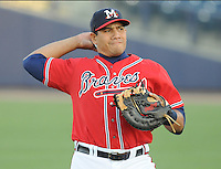 12 April 2008: Infielder Kala Ka'aihue (20) of the Mississippi Braves, Class AA affiliate of the Atlanta Braves, in a game against the Mobile BayBears at Trustmark Park in Pearl, Miss. Photo by:  Tom Priddy/Four Seam Images