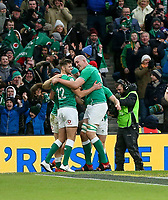 Saturday 8th February 2020 | Ireland vs Wales<br /> <br /> Devin Toner and Ross Byrne congratulate Andrew Conway during the 2020 6 Nations Championship   clash between Ireland and Wales at he Aviva Stadium, Lansdowne Road, Dublin, Ireland. Photo by John Dickson / DICKSONDIGITAL