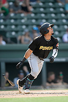 Shortstop Joseph Rosa (2) of the West Virginia Power bats in a game against the Greenville Drive on Sunday, May 19, 2019, at Fluor Field at the West End in Greenville, South Carolina. Greenville won, 8-4. (Tom Priddy/Four Seam Images)