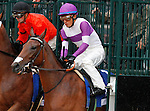 """October 02, 2015:  Gomo and jockey Mario Gutierrez at the start of the Alcibiades.<br /> Gomo and jockey Mario Gutierrez win the 64th running of The Darley Alcibiades (Grade 1) $400,000 """"Win and You're In Juvenile Fillies Division"""" at Keeneland for trainer Doug O'Neill and owner Reddam Racing.  Candice Chavez/ESW/CSM"""