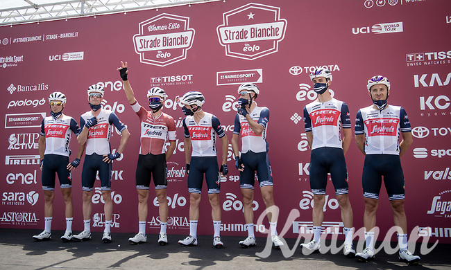 Team Trek-Segafredo at sign-on<br /> <br /> 14th Strade Bianche 2020<br /> Siena > Siena: 184km (ITALY)<br /> <br /> delayed 2020 (summer!) edition because of the Covid19 pandemic > 1st post-Covid19 World Tour race after all races worldwide were cancelled in march 2020 by the UCI