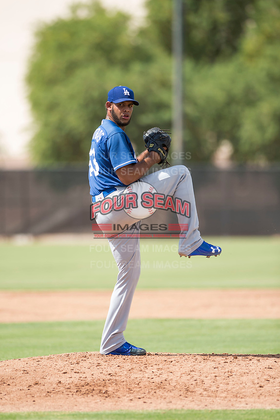 Los Angeles Dodgers relief pitcher Nelfri Contreras (63) delivers a pitch during an Instructional League game against the Milwaukee Brewers at Maryvale Baseball Park on September 24, 2018 in Phoenix, Arizona. (Zachary Lucy/Four Seam Images)