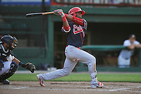 Peoria Chiefs Eliezer Alvarez (15) swings during the Midwest League game against the Burlington Bees at Community Field on June 9, 2016 in Burlington, Iowa.  Peoria won 6-4.  (Dennis Hubbard/Four Seam Images)