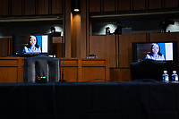 Kristen Clarke, speaks remotely during the fourth day of the confirmation hearing for Judge Amy Coney Barrett, President Donald Trump's Nominee for Supreme Court, in Hart Senate Office Building in Washington DC, on October 15th, 2020.<br /> Credit: Anna Moneymaker / Pool via CNP /MediaPunch