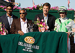 July 5, 2014: Fortune Pearl, trained by Graham Motion (2nd from right) and ridden by Trevor McCarthy (right) wins the Grade II Delaware Oalks at Delaware Park in Stanton Delaware. She is owned by Lawrence Stable Inc. ©Joan Fairman Kanes/ESW/CSM
