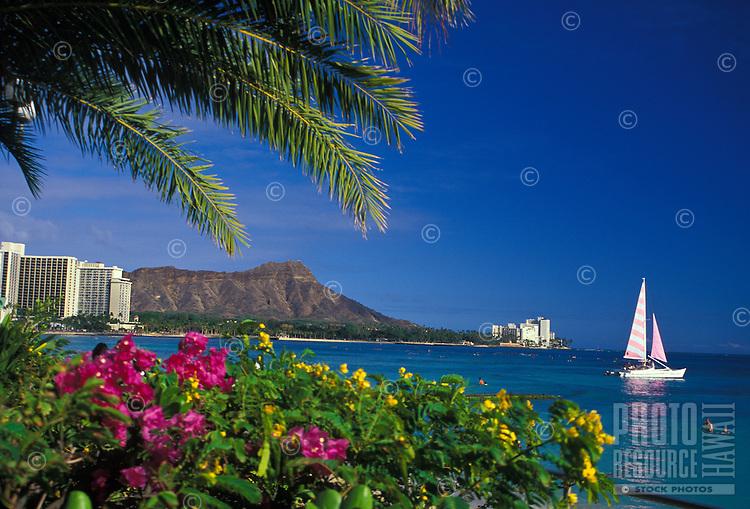 Diamond head at Waikiki beach on a clear blue sky day, Oahu