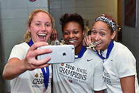 Houston, TX - Sunday Oct. 09, 2016: Taylor Smith, Jaelene Hinkle, celebrates after a National Women's Soccer League (NWSL) Championship match between the Washington Spirit and the Western New York Flash at BBVA Compass Stadium. The Western New York Flash win 3-2 on penalty kicks after playing to a 2-2 tie.