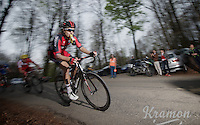 Taylor Phinney (USA/BMC) racing in the breakaway (with a mouthful)<br /> <br /> Ronde van Vlaanderen 2014