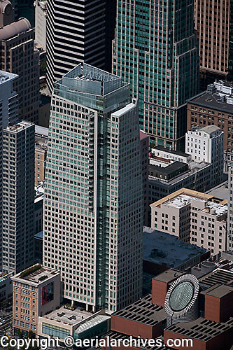 aerial photograph of the St. Regis Museum tower hotel and the San Francisco Museum of Modern Art, SFMOMA  San Francisco, California