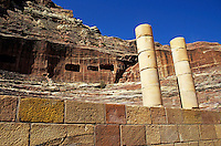 Two columns outside the ruins of the Roman Theater, Petra, Jordan.
