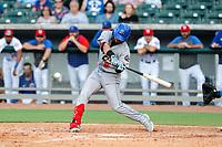 Rocket City Trash Pandas left fielder Orlando Martinez (8) at bat against the Tennessee Smokies at Smokies Stadium on July 2, 2021, in Kodak, Tennessee. (Danny Parker/Four Seam Images)