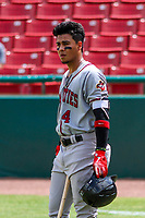 Quad Cities River Bandits shortstop Miguelangel Sierra (4) waits on deck during a Midwest League game against the Kane County Cougars on July 1, 2018 at Northwestern Medicine Field in Geneva, Illinois. Quad Cities defeated Kane County 3-2. (Brad Krause/Four Seam Images)