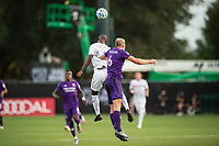 LAKE BUENA VISTA, FL - JULY 31: Bradley Wright-Phillips #66 of LAFC and Robin Jansson #6 of Orlando City SC battle for the ball during a game between Orlando City SC and Los Angeles FC at ESPN Wide World of Sports on July 31, 2020 in Lake Buena Vista, Florida.