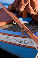 """Europe/Provence-Alpes-Côte d'Azur/83/Var/Saint-Tropez: le port -détail des """"Pointus"""" bateaux de pêche"""