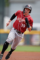 Altoona Curve Mitchell Tolman (19) running the bases during an Eastern League game against the Erie SeaWolves and on June 4, 2019 at UPMC Park in Erie, Pennsylvania.  Altoona defeated Erie 3-0.  (Mike Janes/Four Seam Images)
