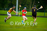 Sean Whyte of Crotta tries to get his shot away as Abbeydorney's Aidan Healy and keeper JP Byrne bares down on him, in the County Hurling league Div 3 final