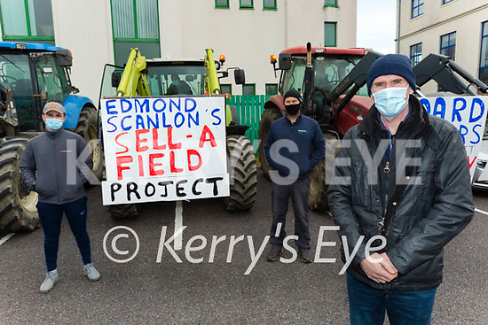 Kerry farmers protesting at the Kerry Co-Op offices in Fells Point on Thursday. Front right: Jerome Fleming from Currow. Back l to r: Cathal Crowley (Killorglin) and Art O'Leary (Killarney).