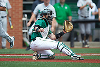 Charlotte 49ers catcher Derek Fritz (26) waits for a throw during the game against the Marshall Thundering Herd at Hayes Stadium on April 23, 2016 in Charlotte, North Carolina. The Thundering Herd defeated the 49ers 10-5.  (Brian Westerholt/Four Seam Images)
