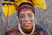 Xingu Indigenous Park, Mato Grosso State, Brazil. Aldeia Kuikuro - central village. Festival of Taquara. Kalussi.