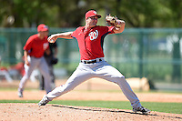 Washington Nationals pitcher Dakota Bacus (29) during a minor league spring training game against the Atlanta Braves on March 26, 2014 at Wide World of Sports in Orlando, Florida.  (Mike Janes/Four Seam Images)