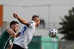19.09.2020, Dietmar-Scholze-Stadion an der Lohmuehle, Luebeck, GER, 3. Liga, VfB Luebeck vs 1.FC Saarbruecken <br /> <br /> im Bild / picture shows <br /> Tor zum 1:1 . Torschütze/Torschuetze Tobias Jänicke/Jaenicke (1.FC Saarbruecken) koepft zum 1:1, Ryan Malone (VfB Luebeck) kann nicht klaeren<br /> <br /> DFB REGULATIONS PROHIBIT ANY USE OF PHOTOGRAPHS AS IMAGE SEQUENCES AND/OR QUASI-VIDEO.<br /> <br /> Foto © nordphoto / Tauchnitz