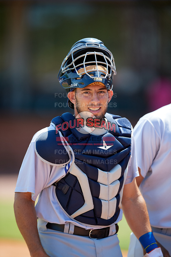 Pensacola Blue Wahoos catcher Adrian Nieto (17) during a game against the Mobile BayBears on April 26, 2017 at Hank Aaron Stadium in Mobile, Alabama.  Pensacola defeated Mobile 5-3.  (Mike Janes/Four Seam Images)