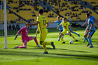 Ulises Davila shooots for goal during the A-League football match between Wellington Phoenix and Sydney FC at Sky Stadium in Wellington, New Zealand on Saturday, 21 December 2019. Photo: Dave Lintott / lintottphoto.co.nz