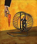 Illustrative image of business person running in exercise wheel to get carrot representing struggle for incentives