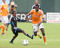 San Francisco, California - Saturday March 17, 2012: Je-Vaughn Watson and Marvin Chavez in action during the MLS match at AT&T Park. Houston Dynamo defeated San Jose Earthquakes  1-0