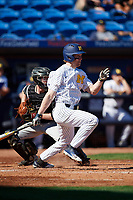 Michigan Wolverines left fielder Miles Lewis (3) at bat in front of catcher Jon Rosoff (7) during a game against Army West Point on February 18, 2018 at Tradition Field in St. Lucie, Florida.  Michigan defeated Army 7-3.  (Mike Janes/Four Seam Images)
