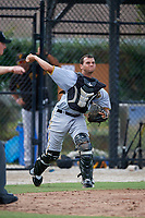 Pittsburgh Pirates catcher Yoel Gonzalez (25) throws to first base during an Instructional League game against the Toronto Blue Jays on October 14, 2017 at the Englebert Complex in Dunedin, Florida.  (Mike Janes/Four Seam Images)