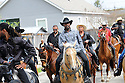 "Buffalo Soldiers and friends ride horses at funeral for Darnell ""Homeboy"" Mitchell Stewart, 2014"