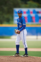 GCL Blue Jays relief pitcher Brayan Mejia (57) gets ready to deliver a pitch during a game against the GCL Phillies West on August 7, 2018 at Bobby Mattick Complex in Dunedin, Florida.  GCL Blue Jays defeated GCL Phillies West 11-5.  (Mike Janes/Four Seam Images)