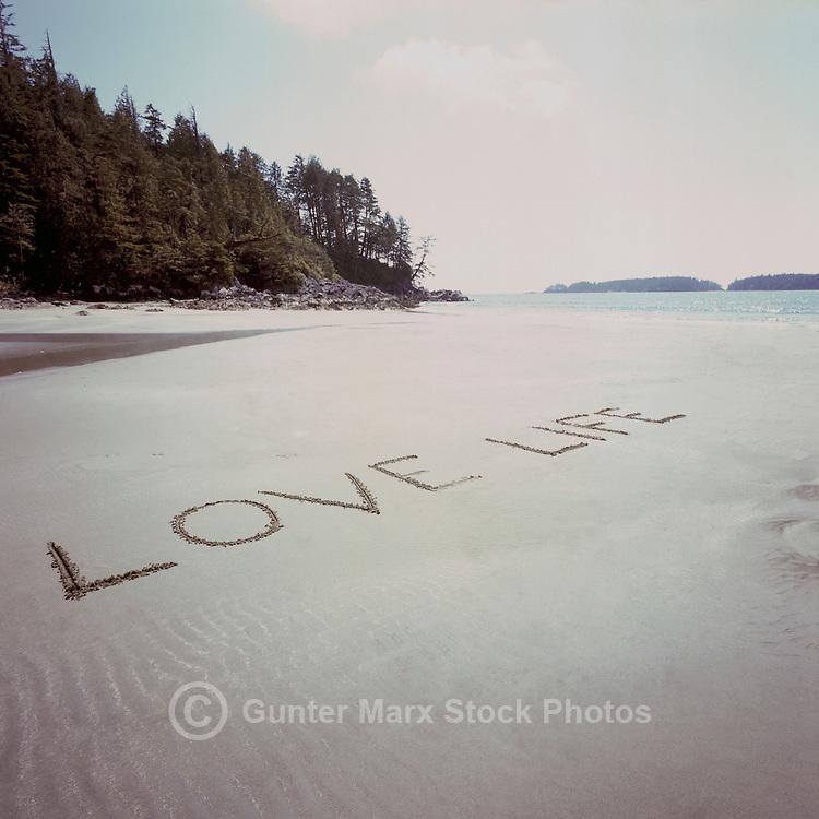 West Coast Beach on Vancouver Island, near Tofino, BC, British Columbia, Canada - Writing in Sand